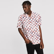Men Notched Button Up Geo Shirt