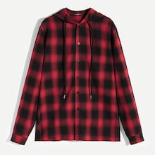 Men Plaid Hooded Shirt