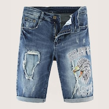 Men Rolled Hem Ripped Eagle Embroidered Denim Shorts