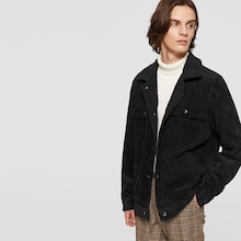 Men Shearling Lined Button Up Corduroy Jacket