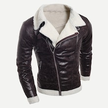 Men Shearling Lined PU Jacket