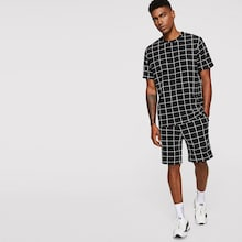 Men Short Sleeve Grid Top & Shorts Set