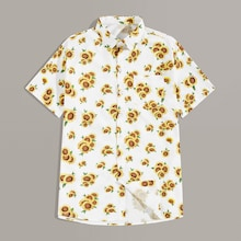 Men Sunflower Print Single Breasted Pocket Shirt