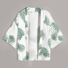 Men Tropical Print Hawaiian Kimono