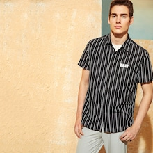 Men Vertical Striped & Letter Print Shirt
