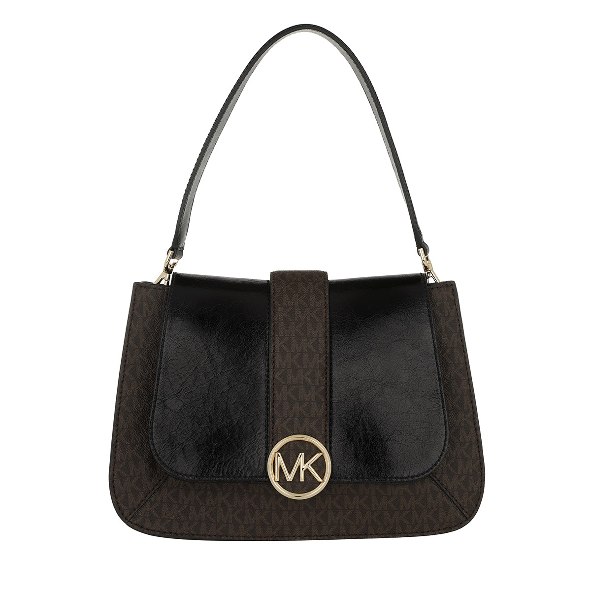 Michael Kors Satchel Bag - Lillie MD TH Flap Bag Black/Brown - in braun - für Damen