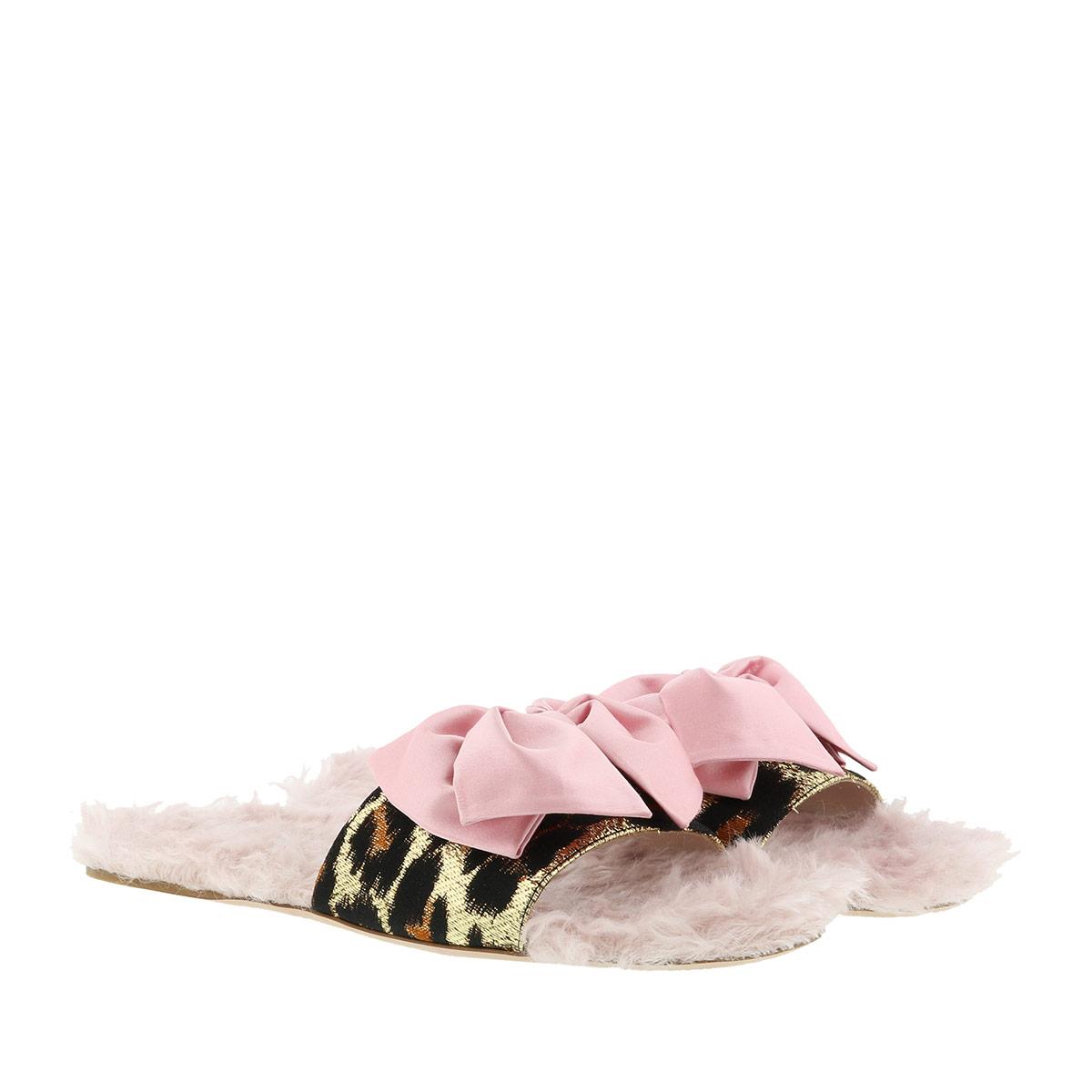 Miu Miu Sandalen - Leopard Jacquard Shearling Slides Pink - in rosa - für Damen