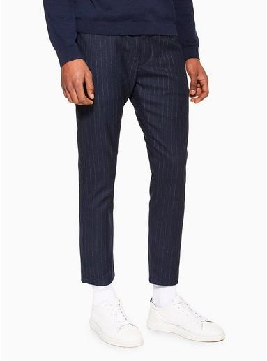 NAVY BLAUEng geschnittene Hose mit Streifendesign, navyblau, NAVY BLAU