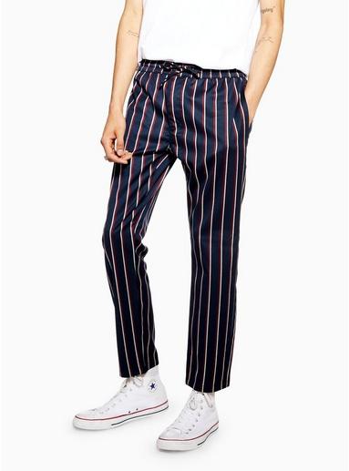 NAVY BLAUEnge Stretch-Hose mit Streifen, navyblau und rot, NAVY BLAU