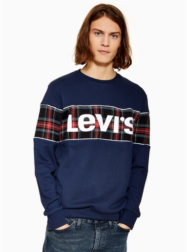 NAVY BLAULEVI'S Sweatshirt mit reflektierendem Logo und Schottenkaros, NAVY BLAU