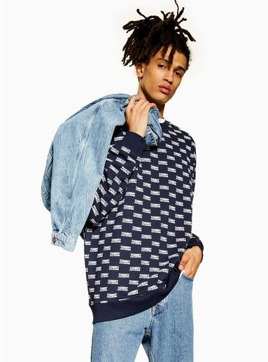 NAVY BLAUTOMMY JEANS Sweatshirt mit Logo-Print, navyblau, NAVY BLAU