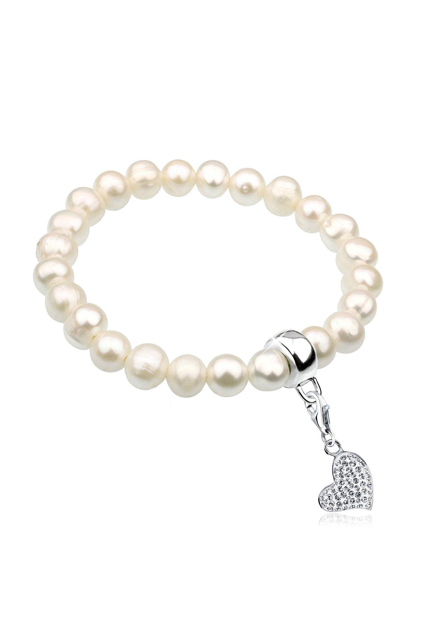 Nenalina Perlenarmband Perlen mit Herz Symbol aus Swarovski Kristalle