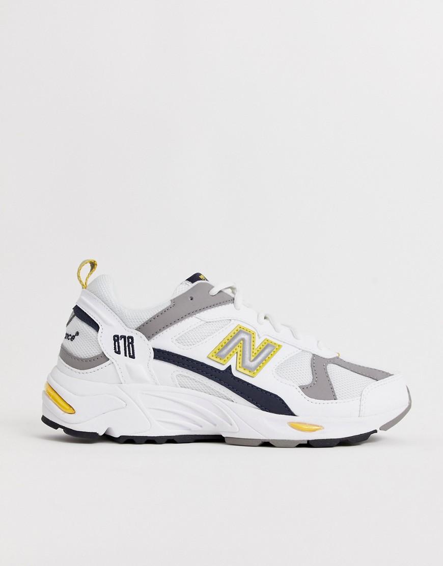 meet 75c0d e6980 New Balance - 878 - Sneaker in Weiß und Gelb mit dicker Sohle - Weiß