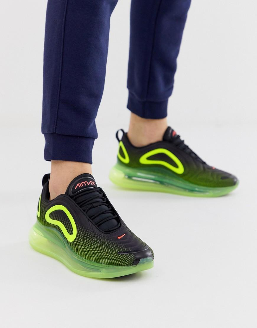 Nike Air Max 720 Sneaker in Schwarz und Grün Schwarz