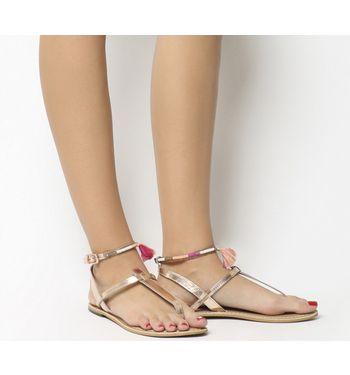 Office Salsa Tassel- Ankle Strap Toe Post ROSE GOLD LEATHER PINK TRIM,Bunt