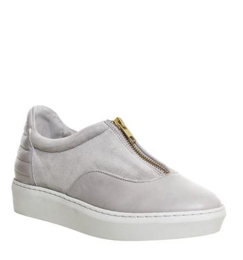 Oki Kutsu Kazuno Zip Front Sneaker GREY LEATHER,Grau,Naturfarben