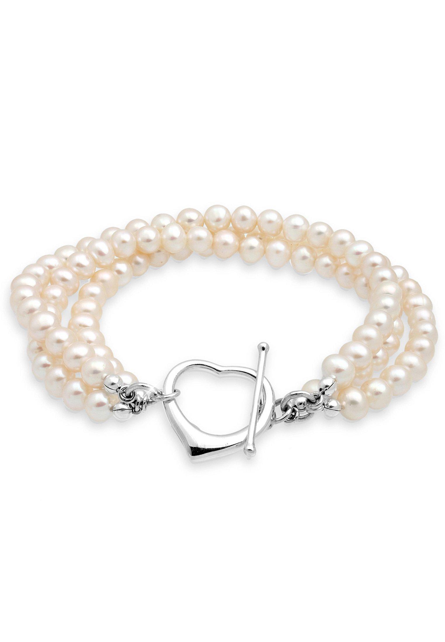 PERLU Perlenarmband Herz Süsswasserzuchtperlen 925 Silber