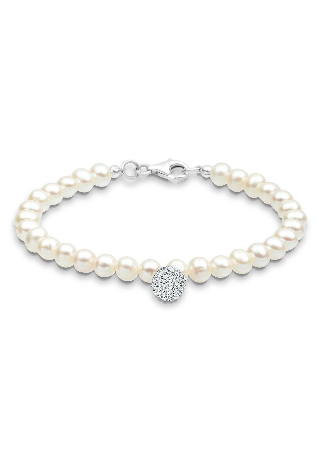 PERLU Perlenarmband Perle Schneeflocke Swarovski Kristalle 925 Silber