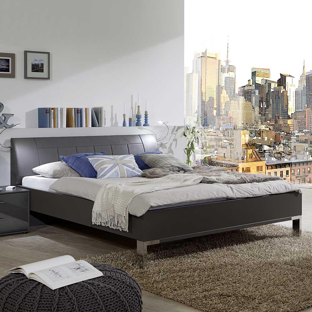 Polsterkopfteil Bett In Braun Led Beleuchtung