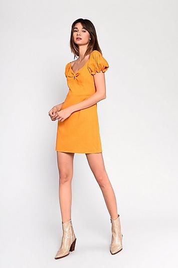 **Prärie-Kleid aus Leinen von Glamorous - Gelb