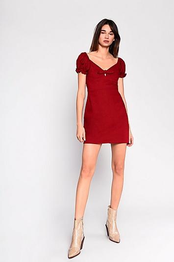 **Prärie-Kleid aus Leinen von Glamorous - Himbeere