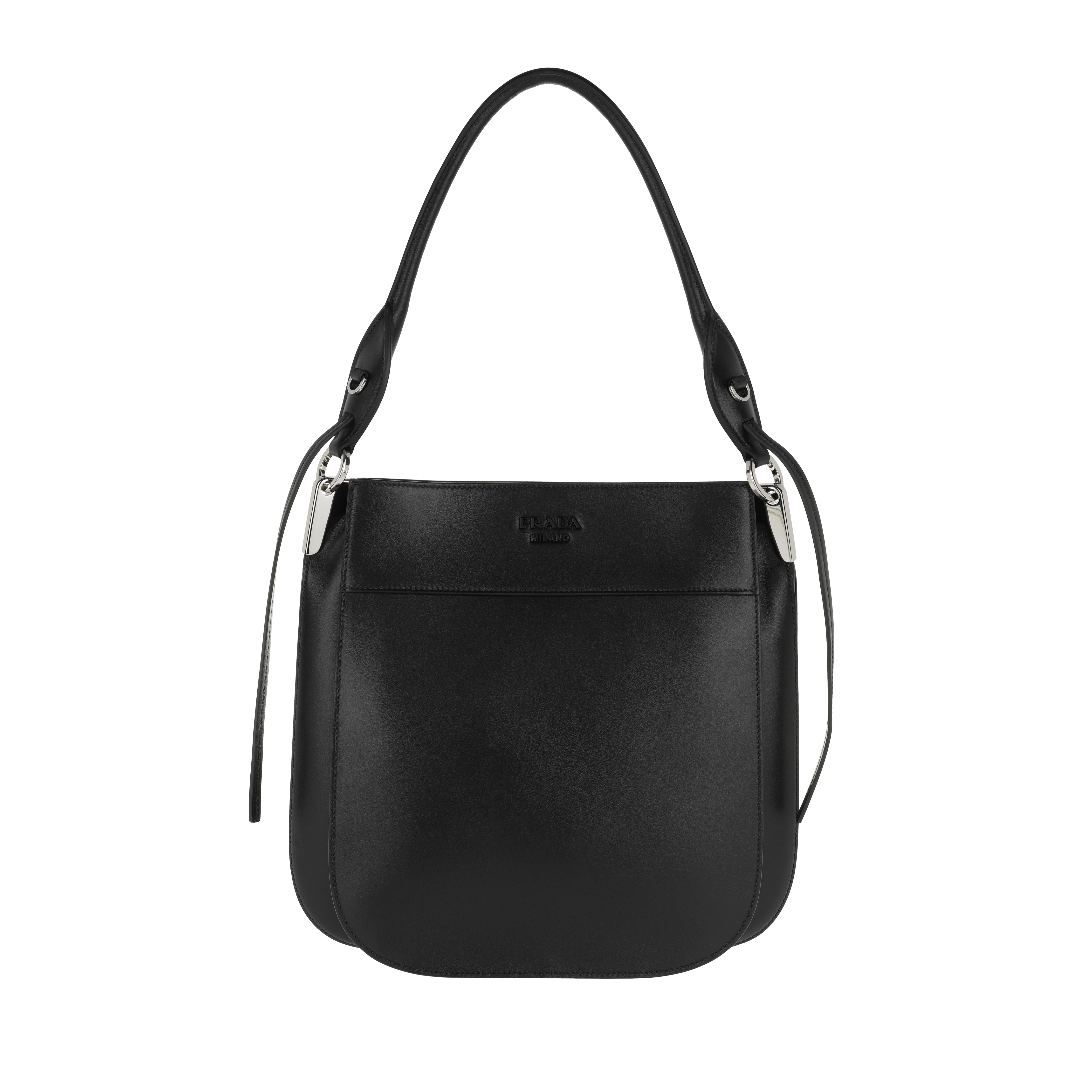 Prada Hobo Bag Margit Leather Shoulder Bag Nero in