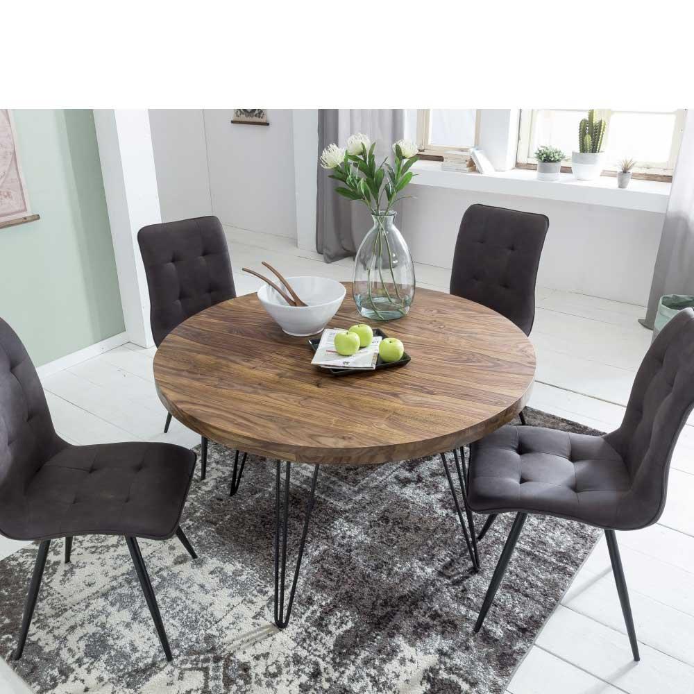 Runder Tisch Metallgestell.Runder Esstisch Aus Sheesham Massivholz Metallgestell