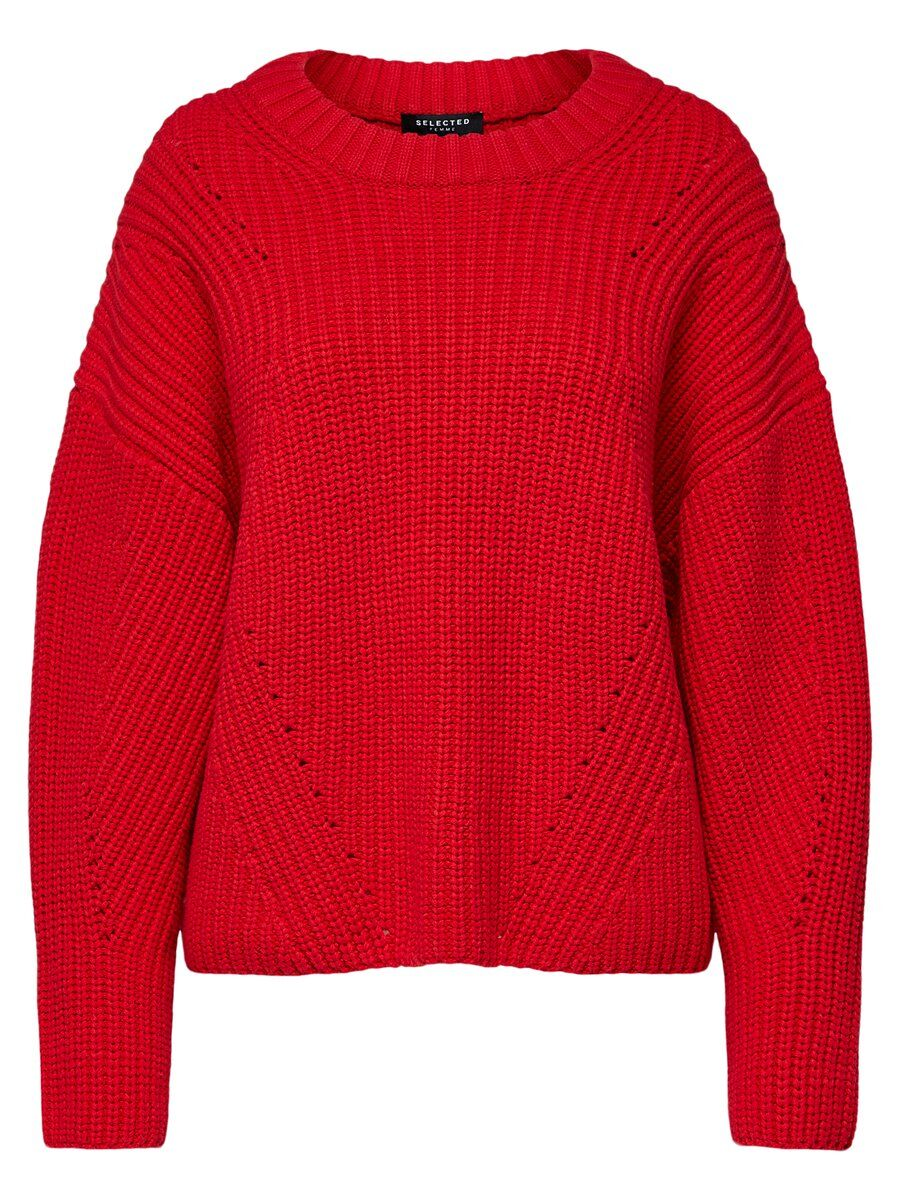 quality design b71bb e7d9b SELECTED Loose Fit Strickpullover Damen Rot