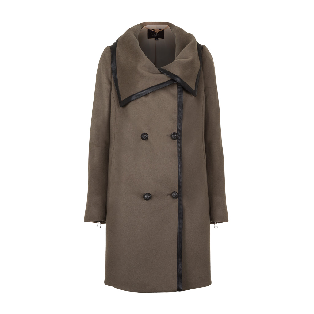 SLY 010 Damen Wollmantel Military Look sand