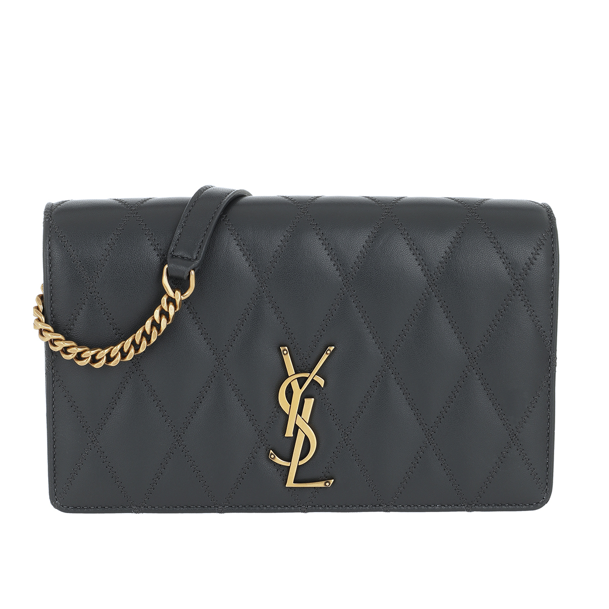 Saint Laurent Umhängetasche - Angie Chain Bag Diamond Quilted Leather Dark Smog - in grau - für Damen