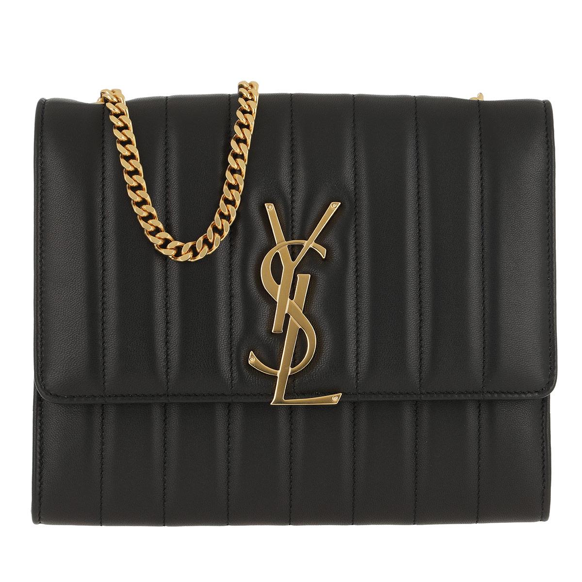 Saint Laurent Umhängetasche - Vicky Chain Wallet Quilted Lambskin Black - in schwarz - für Damen