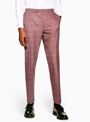 Schmal geschnittene Hose mit großen Karos, pink, PINK
