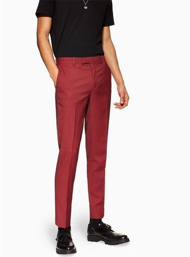 Schmal geschnittene Hose mit zweifarbigem Design, rot, ROT