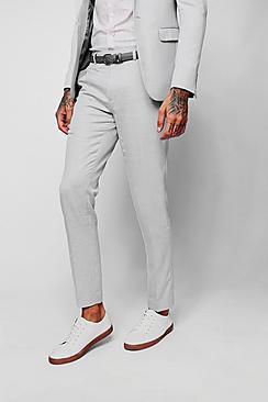 Schmal geschnittene hellgraue strukturierte Anzughose