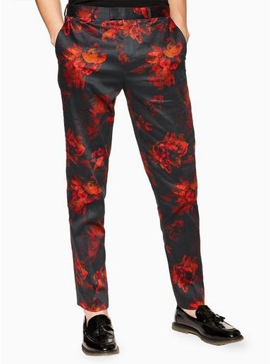 Schmale Hose mit floralem Print, schwarz, SCHWARZ