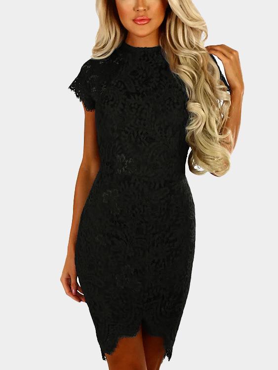 Schwarze Zarte Spitze Rundhalsausschnitt Mit Kurzen Armeln Midi Figurbetontes Kleid Online Kaufen Stylesoul