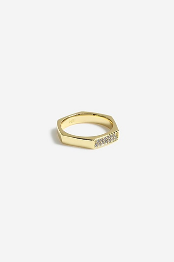 **Sechseckiger Pavé-Ring von House of Freedom - Gold