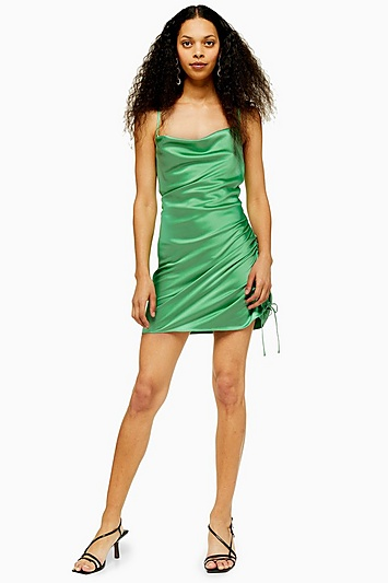 Seitlich gerafftes Kleid Petite-Größe - Apfel
