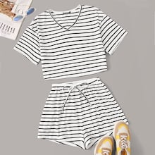 Short Sleeve Striped Tee & Shorts Set