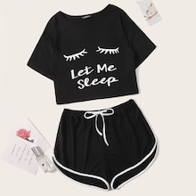 Slogan & Figure Print Top & Dolphin Shorts PJ Set