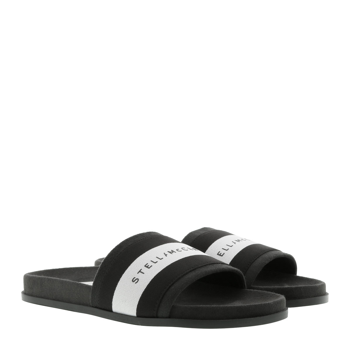 Stella McCartney Schuhe - Logo Patch Slides Black - in grau - für Damen