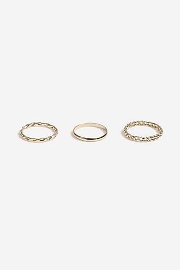 **Strukturierte Ringe im 3er-Pack mit Struktur - Gold