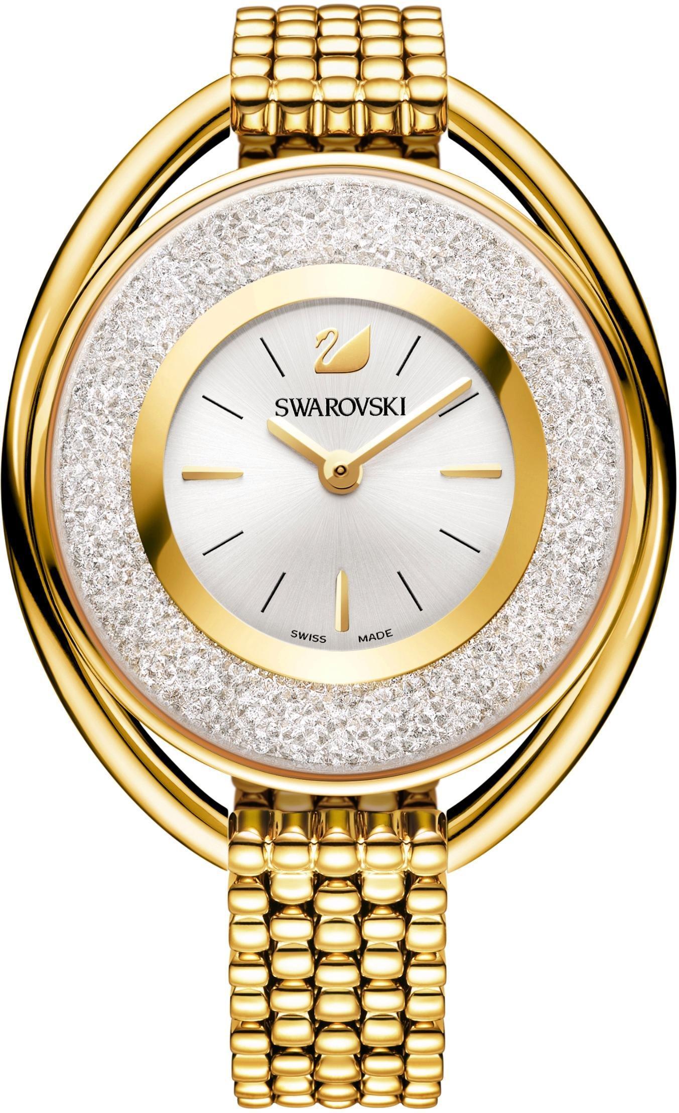 Swarovski Schweizer Uhr Crystalline Oval Uhr Metallarmband weiss goldfarben 5200339