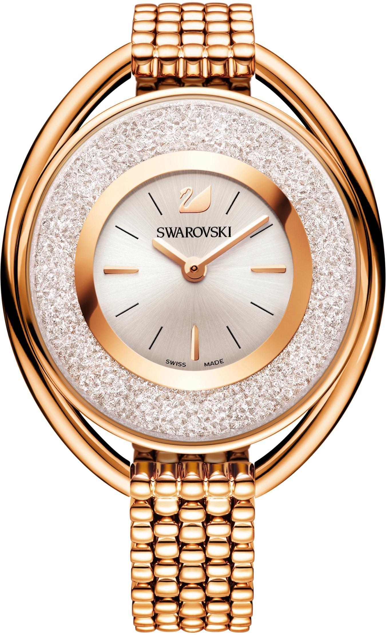Swarovski Schweizer Uhr Crystalline Oval Uhr Metallarmband weiss roséfarben 5200341