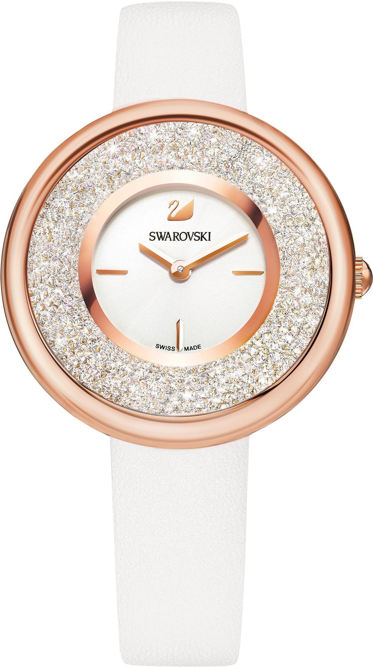 Swarovski Schweizer Uhr Crystalline Pure Uhr Lederarmband weiss roséfarben 5376083