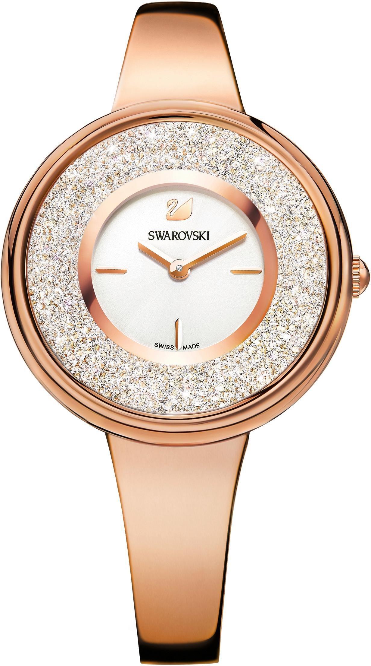 Swarovski Schweizer Uhr Crystalline Pure Uhr Metallarmband weiss roséfarben 5269250