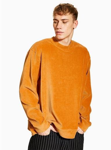 Sweatshirt aus Cord und Velours, senfgelb, GELB