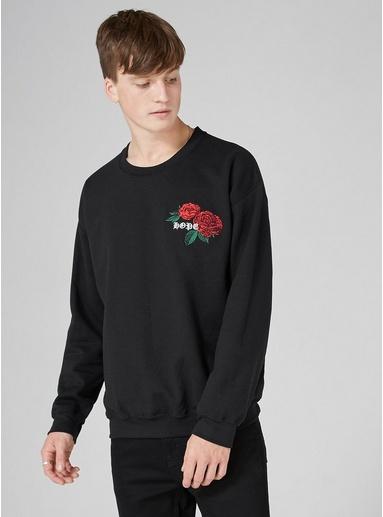 Sweatshirt mit 'Hope/Rose'-Stickerei, schwarz, SCHWARZ