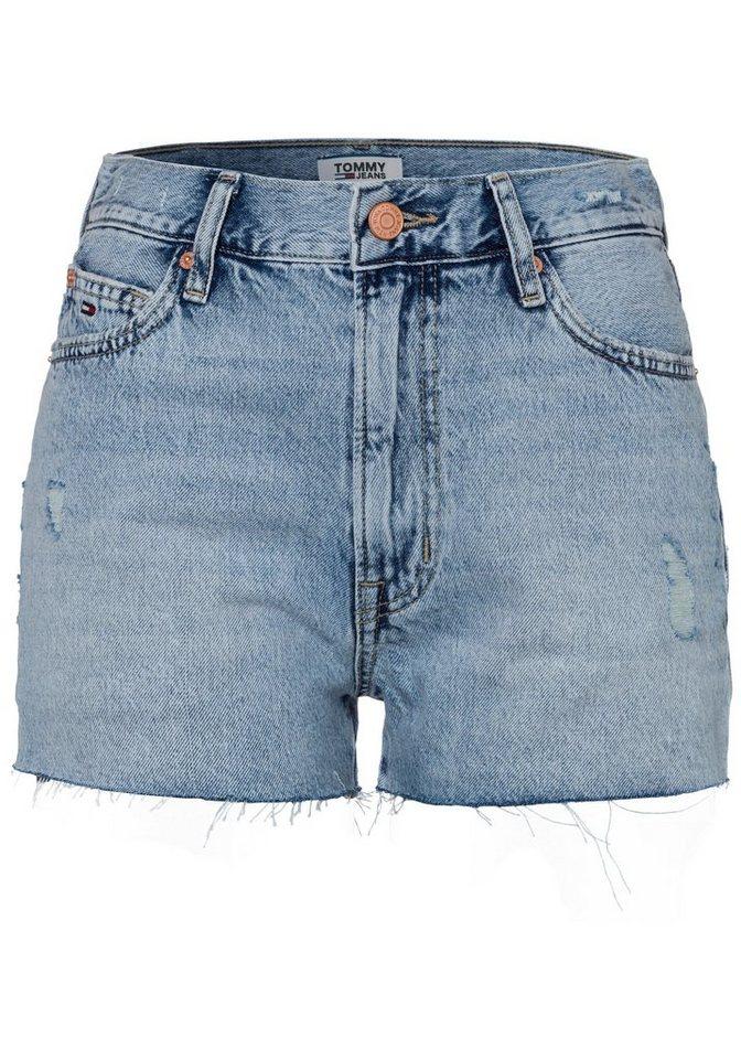 TOMMY JEANS Hotpants mit Fransensaum und Abriebstellen