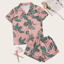 Tropical Print Shirt With Shorts PJ Set